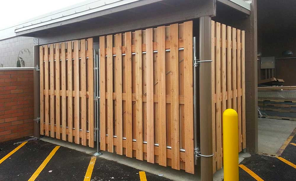 Wood Dumpster Enclosure with steel frame double gates