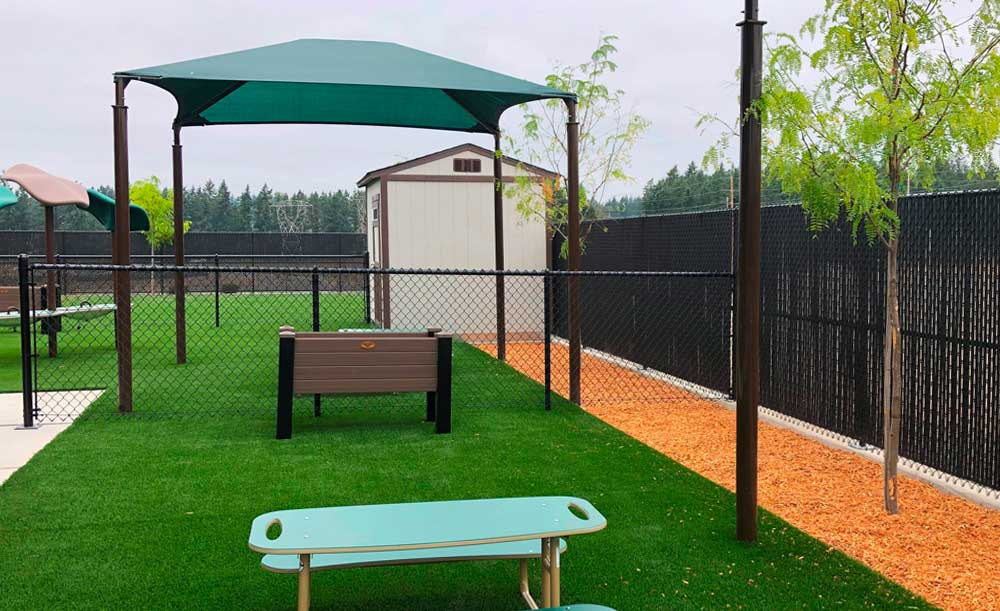 Black chain link and privacy slats