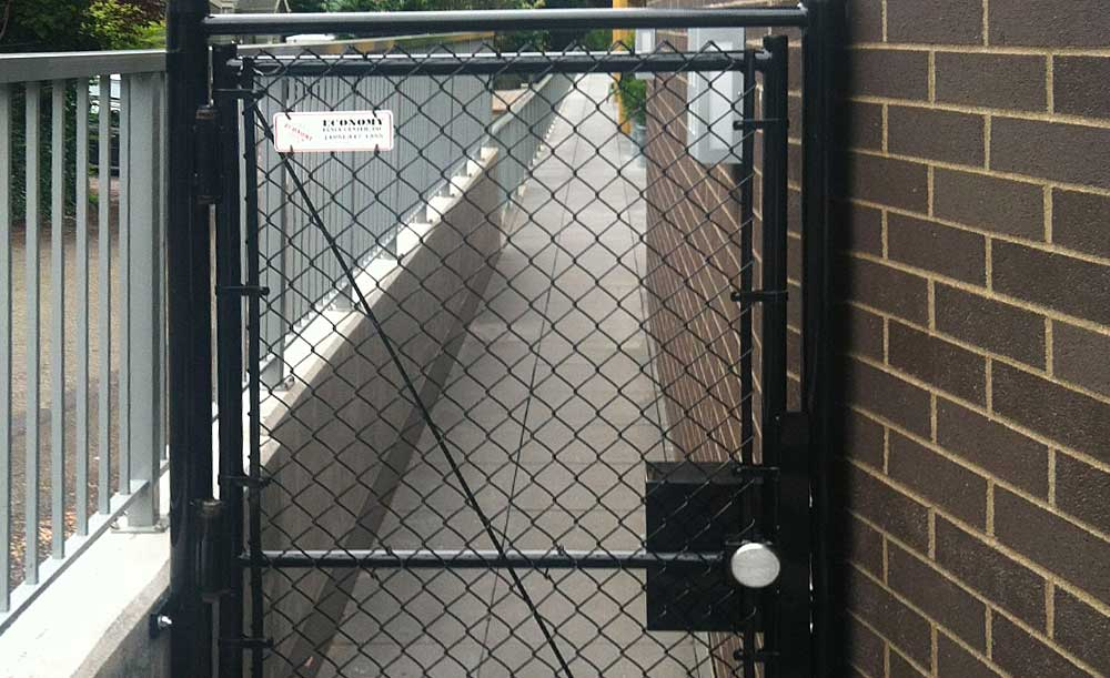 Black chain link security gate