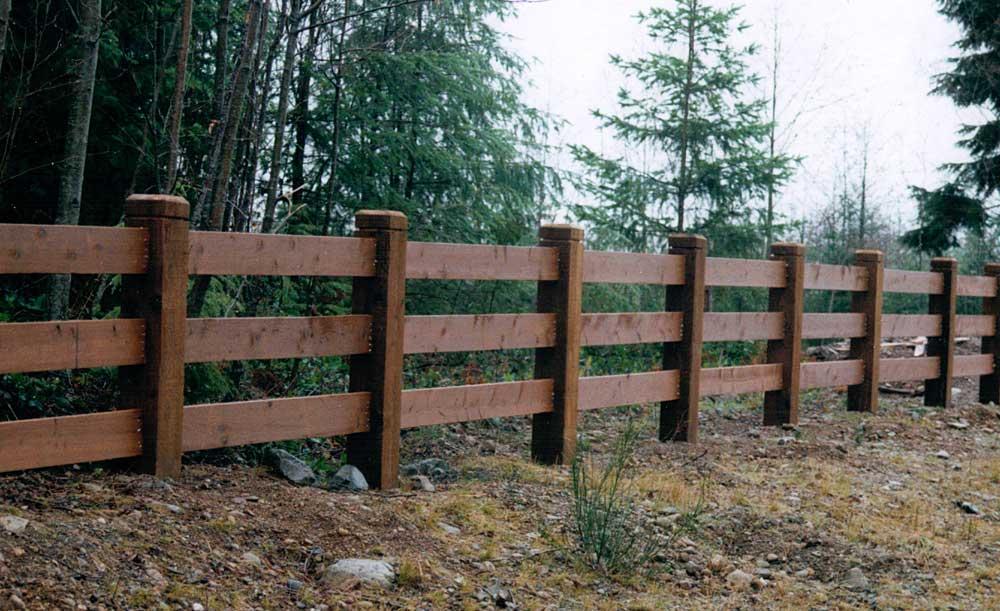 2x8 Rails and 6x6 posts 3-rail fence