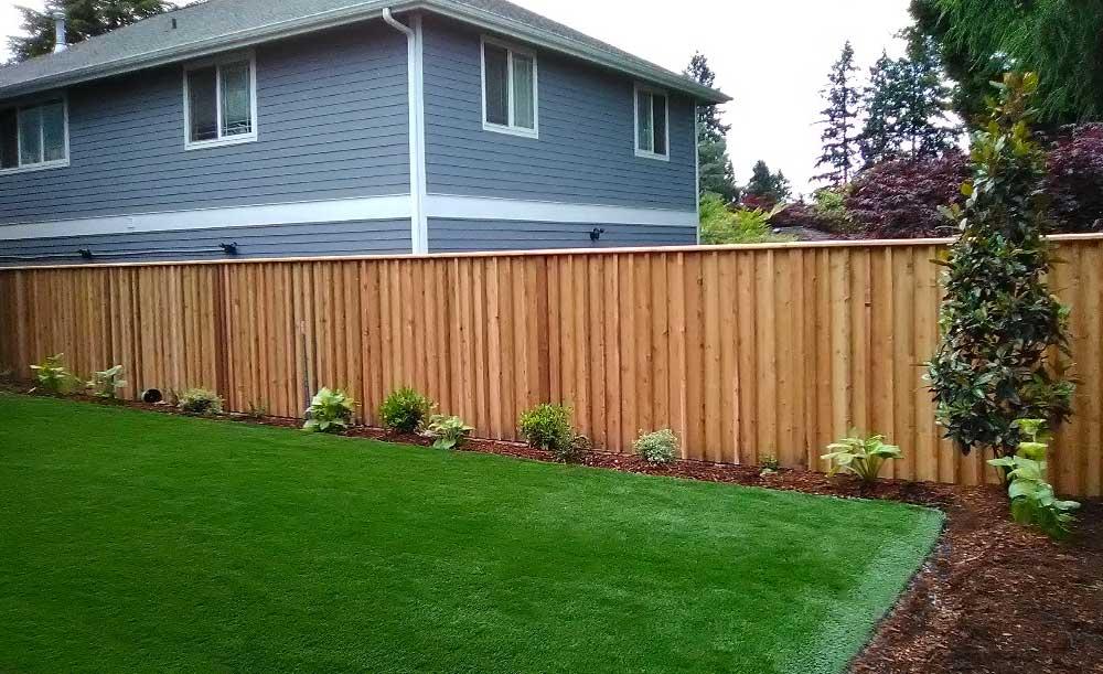Batten board style cedar fence