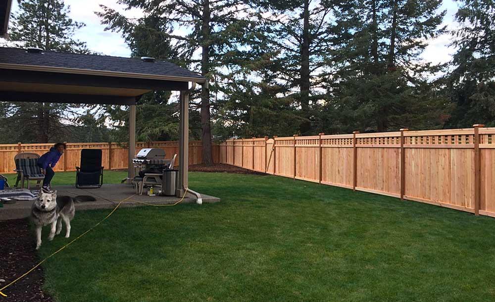 Custom Lattice Top cedar fence