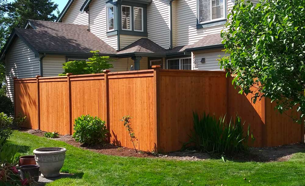 Modified Panel style pre-stained cedar fence