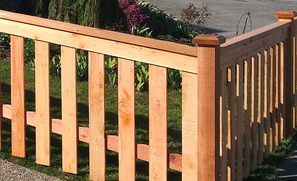 Modified panel style cedar fence with space
