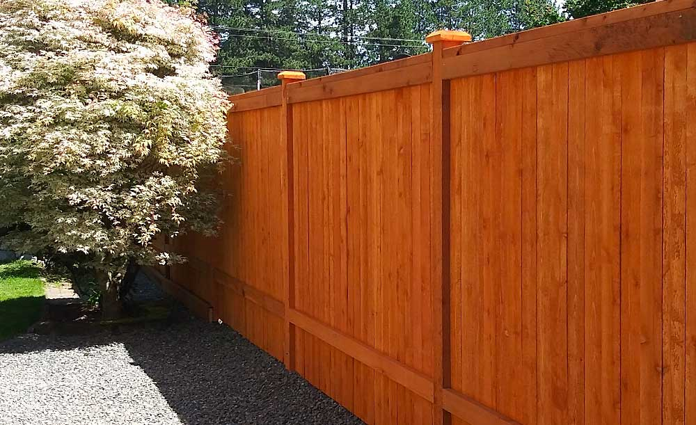Modified Panel style pre-stained cedar fence (backside)