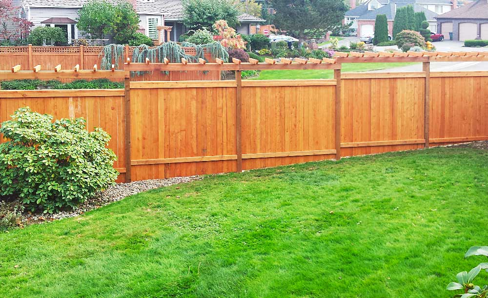 Modified Panel style pre-stained cedar fence with trellis (backside)