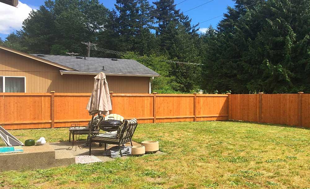 Estate style cedar fence (backside)