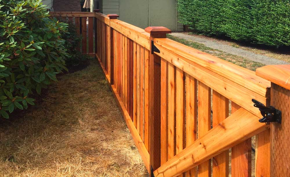 Full Panel style cedar fence with gate