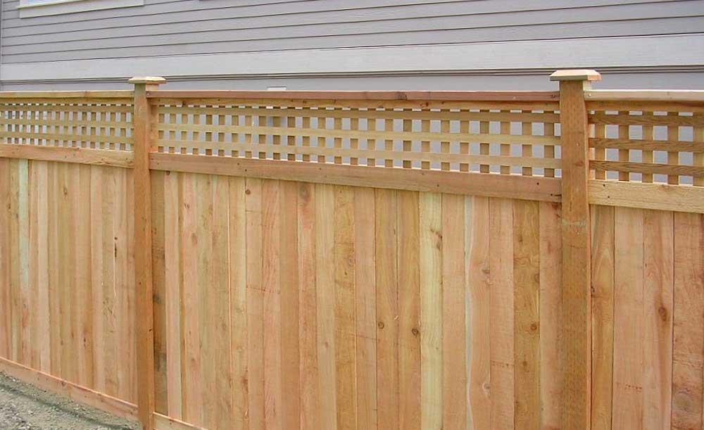 Square Lattice Top cedar fence