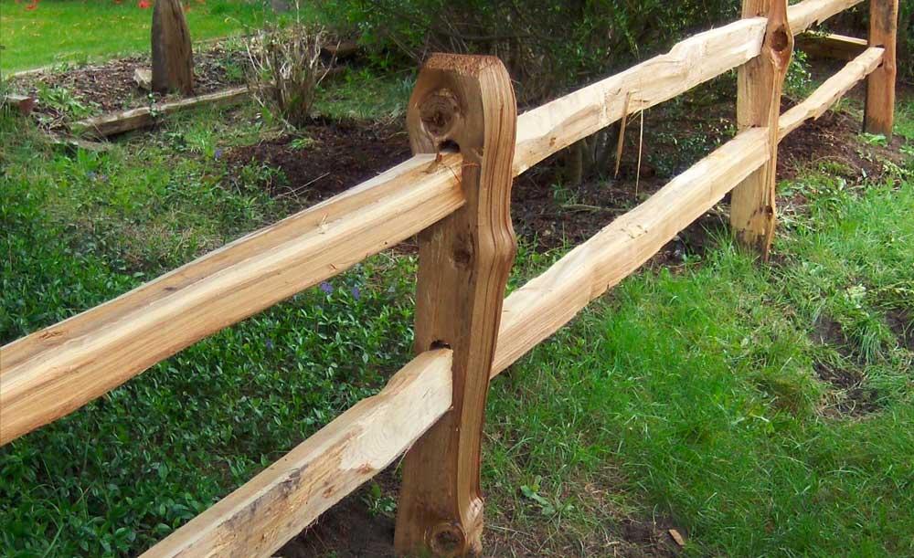 Split cedar 2-rail cedar fence