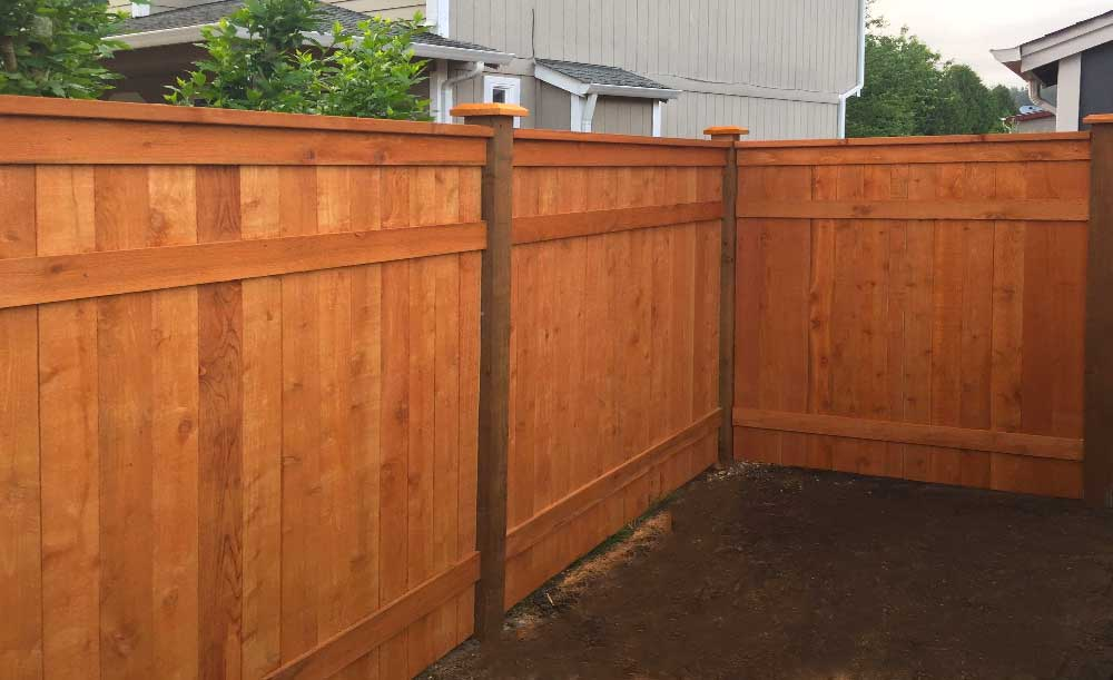 Modified Hampton style cedar Pre-stained cedar fence