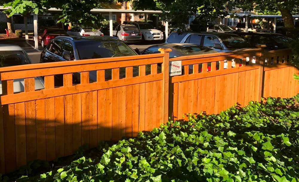 Lexington style pre-stained cedar fence