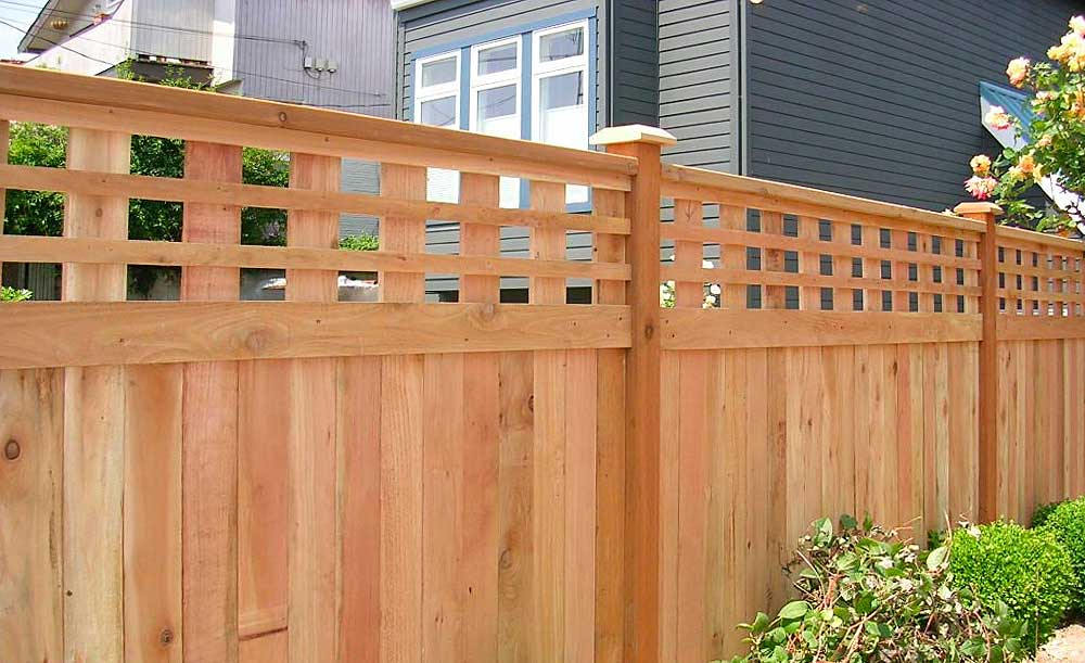 Lexington style cedar fence with 1x2 horizontals